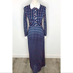 Vintage Kelly Arden 2 Piece Checkered Maxi Dress S